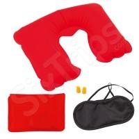 Тапи за уши, маска за сън и червена възглавница - комплект за пътуване