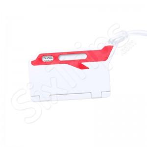 Стилен етикет за багаж в бяло и червено Mufix