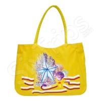 Лятна жълта плажна чанта с морски елементи