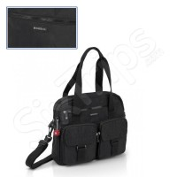 Черна дамска чанта с предни джобове Key