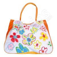 Чанта на цветя за плажа - оранжева