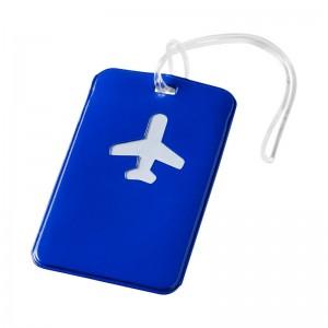 Син етикет за багаж със самолет