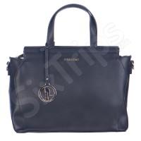 Голяма дамска черна чанта с украшение - логото на Puccini