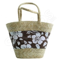 Плетена плажна чанта-кошница - кафява